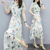 休閒洋裝流行黃色雪紡連身裙21新款夏仙女超仙森繫收腰顯瘦氣質碎花法式 快速出貨