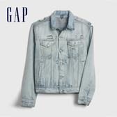 Gap男裝淺色水洗翻領牛仔外套537954-淺色輕微破洞