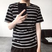 新品海魂衫男士t恤夏季男裝日系流行條紋短袖男TEE半袖韓版圓領T  巴黎街頭