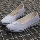 帆布鞋 一字護士鞋白色女帆布鞋工作鞋女休閒一字牌護士鞋美容院舞蹈鞋女-Ballet朵朵
