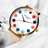 kate spade / 1YRU0735 / Metro 美國復刻主流真皮手錶 白x玫瑰金框x杏粉 34mm