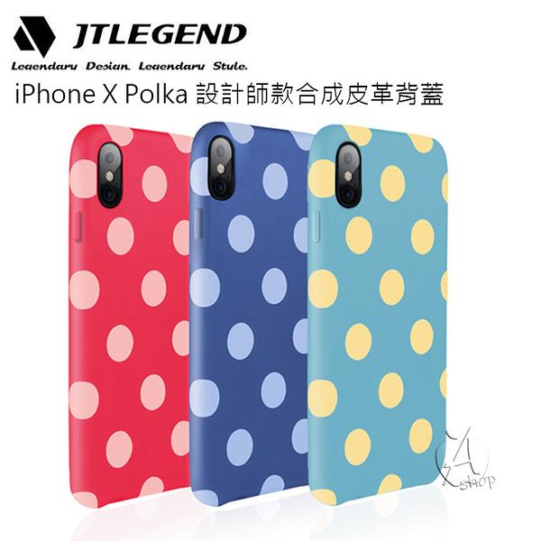 【A Shop】JTLEGEND iPhone Xs/X Polka 設計師款合成皮革背蓋