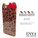 iPhone6/6S 4.7吋 日本三麗鷗 Kitty立體蝴蝶結 咖啡豹紋 手機軟殼 Enya恩雅