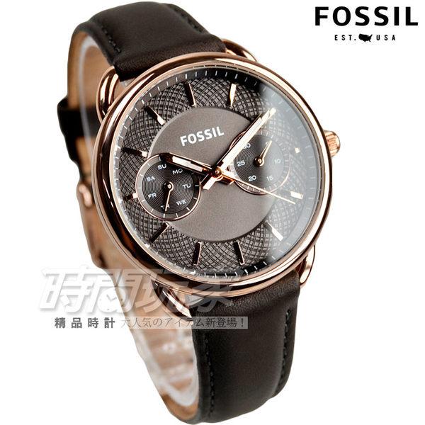 FOSSIL 優雅時代日曆真皮腕錶 女錶 玫瑰金框x灰 ES3913 時間玩家 防水手錶 三眼錶