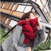 現貨-韓版毛線圍巾女冬季加厚長款純色百搭秋冬針織學生保暖圍脖