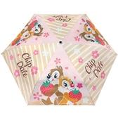 小禮堂 迪士尼 奇奇蒂蒂 折疊傘 雨陽傘 遮陽傘 折傘 雨具 雨傘 (粉棕 櫻花) 4713304-52078