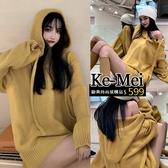 克妹Ke-Mei【ZT63419】歐美網紅超模款深V開釦連帽毛海毛衣洋裝