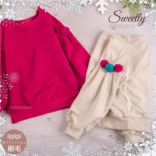 簡約捲領落肩球球長袖上衣-2色(內刷毛)(300843)【水娃娃時尚童裝】