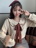娃娃領上衣 2021秋冬上衣女新款韓版甜美洋氣減齡小個子木耳邊娃娃領長袖襯衫 韓國時尚週
