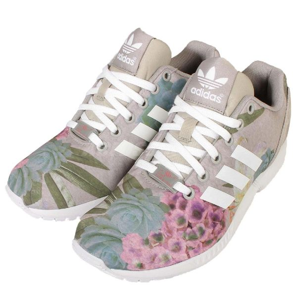 adidas 休閒慢跑鞋 ZX Flux W Originals 灰 白 花卉 圖騰 基本款 女鞋【PUMP306】 AQ3067
