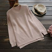 東京奈奈日系長袖圓領縷空寬鬆針織毛衣j20976