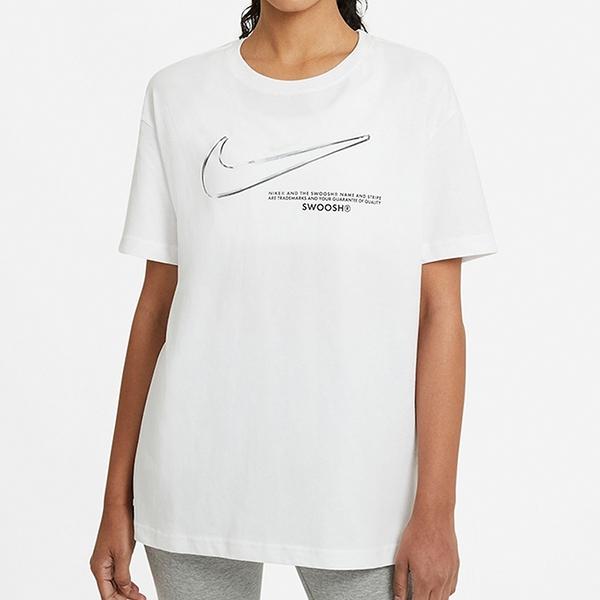 NIKE Sportswear BOY SWOOSH 女裝 短袖 休閒 慢跑 健身 白【運動世界】DB9812-100
