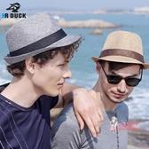 紳士帽 夏天薄帽子男潮韓版太陽帽夏季遮陽帽戶外防曬爵士帽男士草帽禮帽 多色