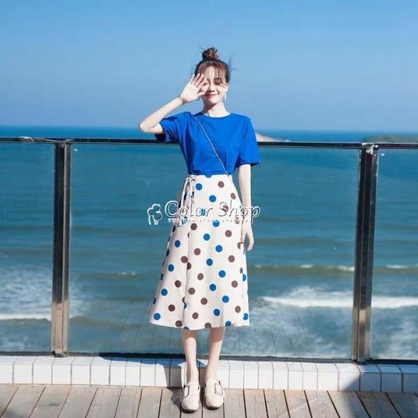 很仙的小眾洋裝ins兩件套裝夏2021新款女學生波點半身裙小清新 快速出貨