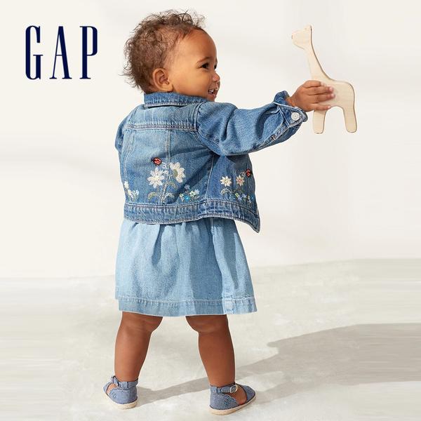 Gap女嬰童趣刺繡娃娃領牛仔外套543560-中度水洗