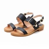 MICHELLE PARK 夏日邂逅 雙層微豹紋方形飾釦水鑽涼鞋-黑