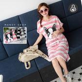 *蔓蒂小舖孕婦裝【M8046】*台灣製.哺乳衣.法鬥狗狗粉嫩條紋洋裝
