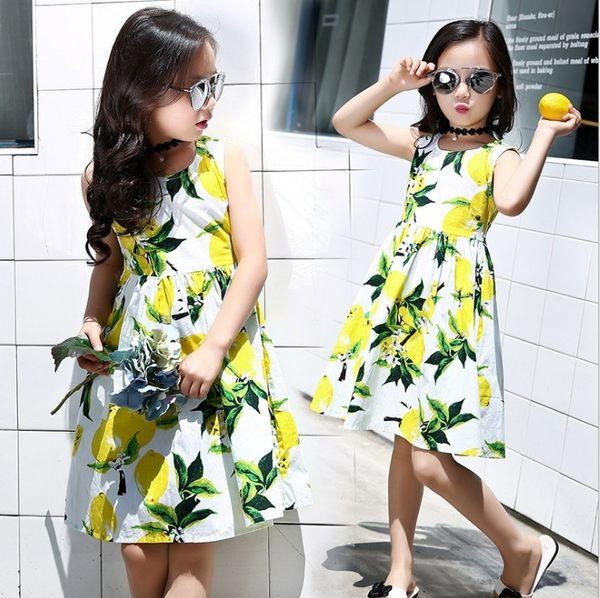 衣童趣 ♥夏季 芒果檸檬 圖案 無袖 連身洋裝 休閒百搭 渡假款 女童 甜美連身裙
