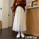 半身裙 法式半身裙女春款2021新款杏色中長款包臀網紗紗裙高腰顯瘦a字裙 【99免運】