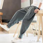 秋中國風男裝唐裝寬鬆大號胖子亞麻棉麻束腳窄管哈倫燈籠褲子青年 卡卡西