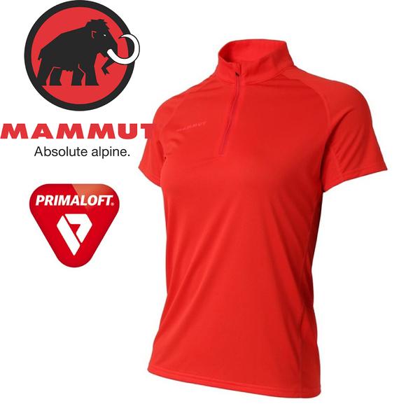 【MAMMUT Performance Dry Zip T-Shirt 女《小檗紅》】1017-00430-3218/長毛象/Primaloft/半開襟/排汗衣