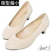 Ann'S細點羊絨真皮低跟圓頭包鞋-米白
