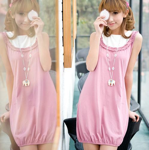 粉色素面 棉質短袖一件式睡衣  居家服