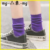 堆堆襪 薄款堆堆襪中筒純棉韓版學院風紫色長襪