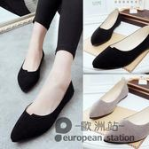 豆豆鞋/平底平跟淺口尖頭小皮鞋夏女黑色絨面套腳大碼工作單鞋「歐洲站」