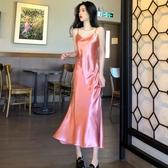 緊身洋裝 夏季時尚性感V領吊帶裙子修身包臀打底長裙魚尾 韓流時裳