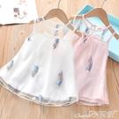 網紗連身裙女童夏款2020新款兒童連身裙洋氣公主背心裙純棉女孩網紗夏裝裙子