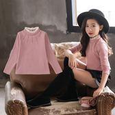 女童打底衫2018新款韓版加絨加厚高領長袖t恤秋冬款洋氣兒童上衣 薇薇