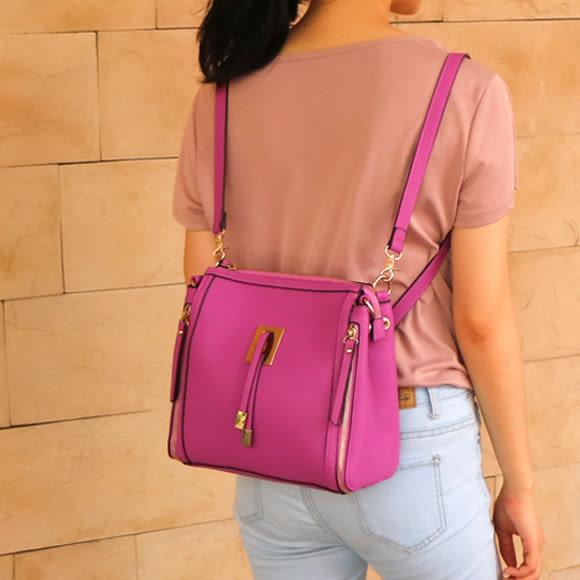 前流蘇造型後背三用包側背/斜背/後背包(玫瑰 紫)