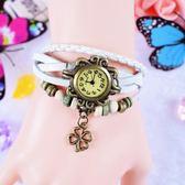 纏繞皮帶韓國女表時尚潮流學生韓版 復古情侶手錬鐲水鑚女士手錶  igo  卡布奇諾