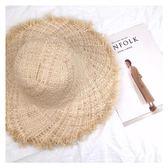 沙灘帽-女夏大沿蕾絲綁帶小清新海邊遮陽防曬海灘度假沙灘帽 花間公主