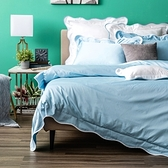 HOLA 艾薇菈埃及棉波浪款系列 床包 特大 天藍