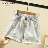 女童牛仔短褲 童裝夏季新款女童破洞牛仔褲子兒童夏裝洋氣女孩外穿短褲-Ballet朵朵