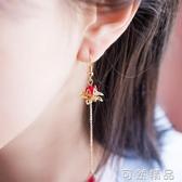 耀西家古風蓮花耳環漢服耳飾超仙中國風復古長款耳墜無耳洞耳夾女 可然精品