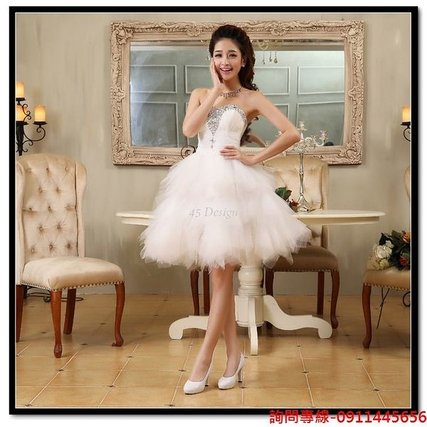 (45 Design) 訂做款式7天到貨 - 婚紗新娘敬酒香檳短禮服蓬蓬時尚短款禮服
