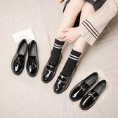 皮鞋女-真皮英倫風小皮鞋女黑色百搭韓版2019新款春季休閒平底單鞋鞋 降價兩天