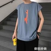 字母印花無袖T恤男士背心夏季外穿寬鬆坎肩汗衫潮流運動上衣 『蜜桃時尚』