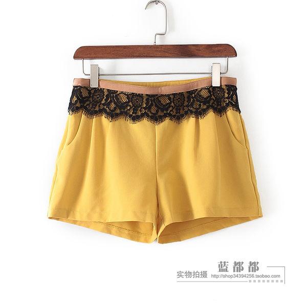 [超豐國際]拉夏裝女裝黃色蕾絲拼接韓版時尚短褲 21228(1入)