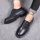 正裝男士商務皮鞋圓頭新款春季青年韓版潮流英倫黑色系帶休閒鞋子