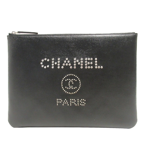CHANEL 香奈兒 黑色魚子醬牛皮手拿包 Deauville Studded O Case Pouch 【BRAND OFF】