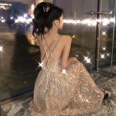 露背洋裝 春裝2020年新款亮片網紅漏背性感吊帶洋裝夏季裙子仙女超仙森系 polygirl
