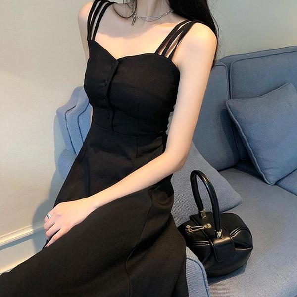 吊帶裙子夏季森繫超仙收腰顯瘦溫柔風氣質法式小眾連身裙女黑長裙 韓國時尚週 免運
