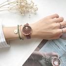 石英手錶女學生森系韓版簡約氣質潮流初中女生ins學院風綠色皮帶 小時光生活館