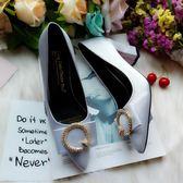 歐美方扣粗跟高跟淺口女鞋尖頭百搭中跟工作單鞋紅色新娘婚鞋 優家小鋪