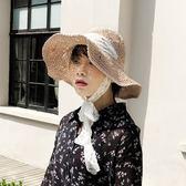 遮陽草帽 蕾絲綁帶太陽帽 沙灘帽 折疊手工帽【多多鞋包店】m220