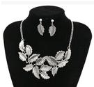 歐美時尚複古氣質樹葉花紋葉子誇張短款項鏈耳環套裝 新娘秘書